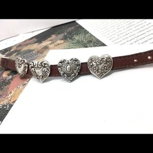 Brighton retired brown leather deco heart bracelet